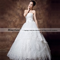 2014 new arrival luxury sexy A line sleeveless strapless floor length stain wedding dresses with diamond crystals HoozGee 22151