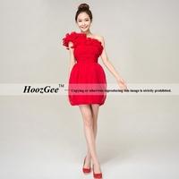 2014 new arrival fashion mini ruffle chiffon slim corsets/sheath prom dress toast gown pleat HoozGee 23745