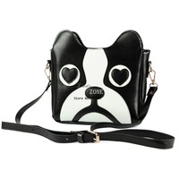 Dropshipping Woman Cute Cartoon Dog Head Shoulder Bag PU Leather Casual Crossbody Bag Mini Personalized Handbag Tote Bag 12586