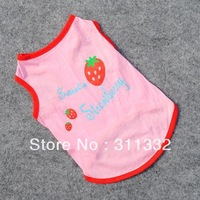 Free shipping red Strawberry Dog Skirts SP6006 Strawberries Pet Dogs Cats Cotton Printed Clothes T Shirt Funny Phrases