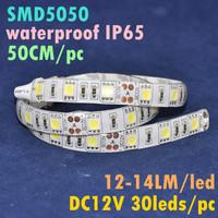 LED DC12V 0.5M 50CM Long 30leds Waterproof IP65 Self Adhesive Bright White Color 5050 SMD LED Flexible Strip Light