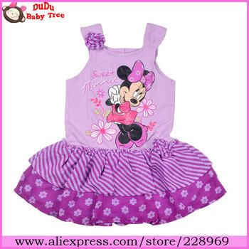 Wholesale 5 piece/lot 2013 New Fashion Girls Summer Dresses,Purple Minnie Knitted&Chiffon One-piece Dress,Children Brand Clothes