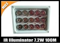 Free shipping 15pcs Array LED 7.2W 80-100meter Night Vision IR Infrared Illuminator Light-CCTV