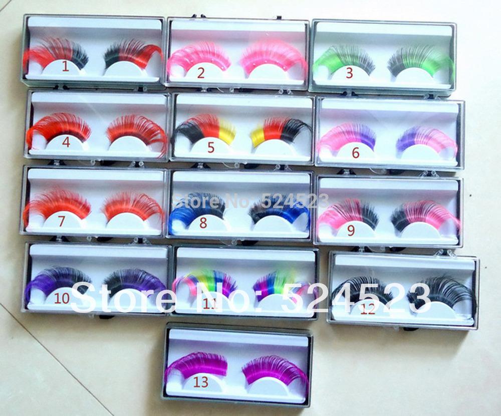 New Arrive Rainbow Party exaggerated false eyelashes feathers Super nice 3pair/lot(China (Mainland))