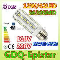 Free shipping 6pcs E27 E14 B22 12W LED Corn Light 42leds 5630SMD Bulb Lamp 110V/220V warranty 2 years Warm/Cool White