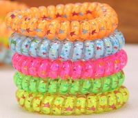 Elastic Telephone Hair Band Star Printing   hair Ring  Ponytail Holder  mix colors