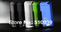 Hot selling! 5pcs/lot 1900mAh Power Pack External Charger Backup Battery Case Cover for iPhone 4G 4 4S freeshipping