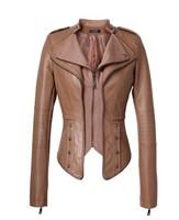 Hot Selling!Brand Women Hitz Coat/Free Shipping! Korean Version Winter Rivets Zipper Short Paragraph Slim PU Leather Jacket 1329