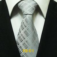 Men`s Popular Grey Gray Geometric Grid Neckties For Men Business Check Wedding Groom Ties For Shirt Wide Gravatas 10CM F10-C-1