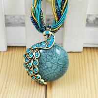 Wholesale Bohemian Vintage Peacock Pendant Necklaces Resin Rhinestone Women Lovers Gift  XL-054