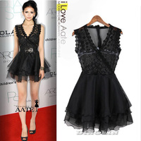 Elegant Women V-Neck Sequin Lace Floral Patchwork Summer One Piece Novelty Wrap Prom Swing Mini Dress Size S Free Shipping 0910