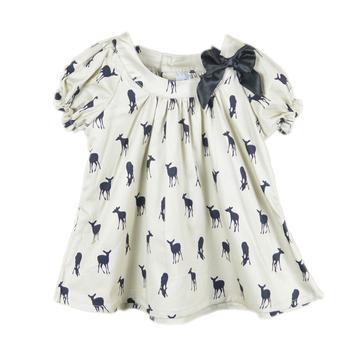 2013 bow girls dress deer dresses 100% cotton children pretty tops baby girl summer T-shirt deer cartoon dress kids tees shirt