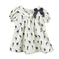 2013 bow girls dress deer dresses 100% cotton children pretty tops baby girl summer T-shirt deer cartoon dress kids tees shirt