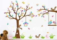 "Free Express Giant 180x160cm (70""x63"") JM7226AB Window Wall Sticker 2pcs=1set Cute Owl Tree Nursery Decor SGS Approved Removable"