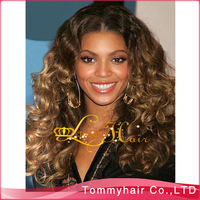 HOT!Brazilian virgin hair two tone glueless silk base full lace wig, No silk top glueless full lace wig!curly,1BT8,130% density