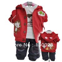 Boys Monkey Suit Kids Cartoon Suits Children Autumn 3pcs Sets Outerwear+T-shirt+Pants For Boys&Girls Wholesale Free Shipping