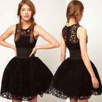 Free Shipping 2013 New Fashion Women's Royal Wind Belt Black Lace Mini Evening Dress Sexy Puff Tank Skirt haoduoyi