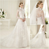 WA0546 Elegant top arabic designers high collar long sleeve lace wedding dress