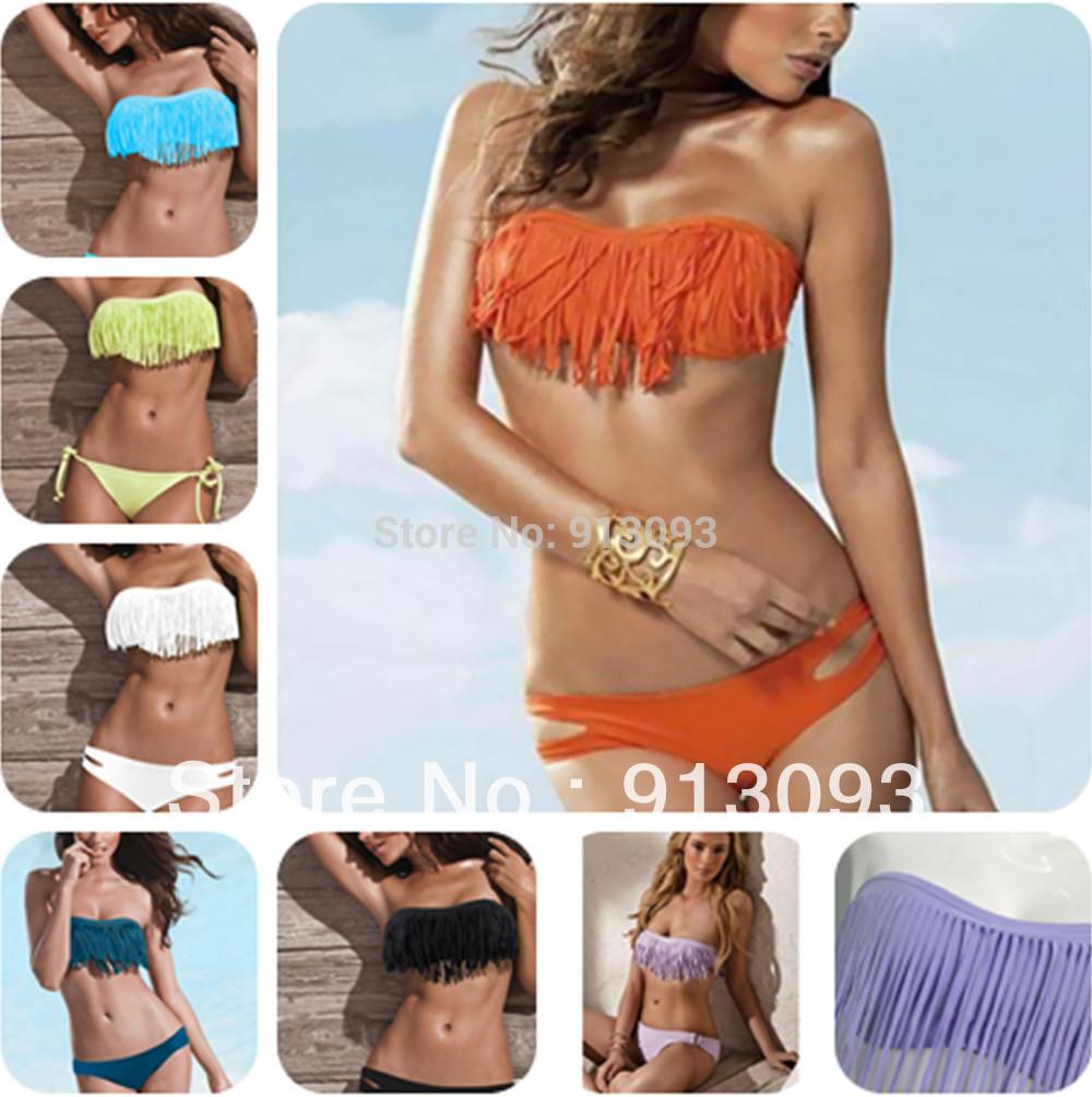 2013 Fashion Brand Tassel Bra Woman Sexy Bikini Set PAD Swimsuits Sport Fringe Top Swimwear Beachwear S757(China (Mainland))