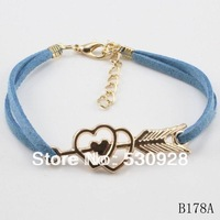 Min. order $10  2014 fashion cheap girls whole sale new  arrow   bracelets for lovers 2014 cheap party jewelry