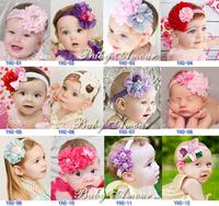 Free Shipping 10 Pcs/Lot 2013 new arrival Baby Headbands infant girls rhinestone flower lace hairbands Christmas gift headwear