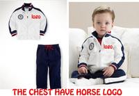 Boys Polo Suits Jacket+Pants Kids cotton sweatshirt set Autumn coat Baby racing driver Clothing set 1sets Retail Free shipping