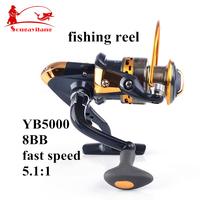 Hot Sale Fishing Reel YB5000 5.1:1 8BB Interchangeable Collapsible Handle Carp Metal Spool Spinning Fishing Reel Fishing Tackle