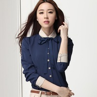 2014 High quality autumn Women Full-sleeve Blouses shirt peter pan collar slim waist OL Chiffon Formal  SIZE S-XL  #C0177