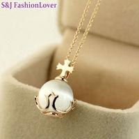 Fashion opal cross necklace female  k gold jewelry
