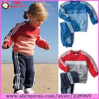 Wholesale 5 sets/lot 2013 New Arrival Boys&Girls Autumn Sportsuit,Children Secondary Color Clothing Set,Baby Brand Clothes