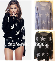 Free shipping new 2013 autumn fashion lady sweater Wildfox series hole pussy hole pattern Pentagonal star sweater female blouses