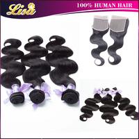 3pcs Peruvian hair bundles with 1pc Lace top closure Peruvian virgin hair weave Body wave Free shipping Natural color