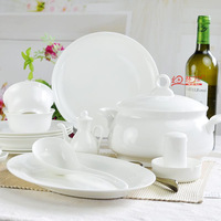 56 PCS/SET Ceramics High Quality Pure White Bone China Tableware Classic Porcelain Gift
