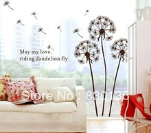 Dandelions flowers removable Free shipping Wall Decor Wall Stickers Vinyl Stickers Wallpaper 120*130(China (Mainland))