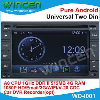 1080p HD Pure Android Car DVD Player for Universal Two Din A8 chip 1G CPU 512 DDR DSP sound-effects 7 parts digital EQ