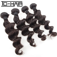 TD-HAIR hair products Peruvian loose wave,100% human virgin hair 4pcs lot,Grade 6A,unprocessed hair can be dyed