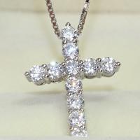 Luxury Quality Elegant NSCD Synthetic Diamond Cross Pendant Necklace!