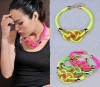 Retail & Wholesale Fashion 2013 18 Neon Colors knot arty rope choker neon necklace knitted choker necklace, flouscent necklace