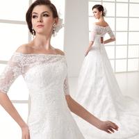 Slit neckline train slim fish tail bandage vintage lace short-sleeve princess married the bride wedding dress formal dress