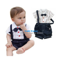 Free Shipping  2013 2pcs Toddlers Kids, Baby Boys Top T-shirt+Overalls Pants Shorts Set Outfit Clothes Bow Tie Stripes Formal