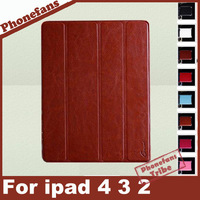 New Arrival  protective Leather Case for iPad 2 ipad 3 ipad 4 Smart Cover Slim Magnetic fold Leather Case Wake Sleep Stand case