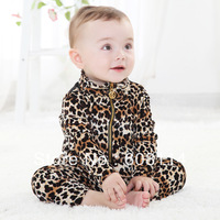 Free Shipping Retail Velvet Leopard Baby Spring Autumn Clothing Sets Children Suits Kids Clothes Sets
