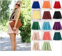 12 color women soft chiffon Short skirt bohemian pleated Short Skirts lady high quality double layer chiffon Skirt