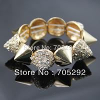 Fashion CZ Rhinestone Spike Stretch Bracelet