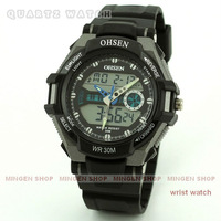 MINGEN SHOP - 5 pcs Black OHSEN Men Women Chronograph Dual Time Zone LCD Digital Date Day Sport watch Wholesale Q5009
