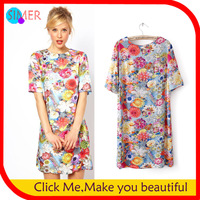 2013 Photographic Jewel Print T-Shirt Dress Short Sleeve Knee-length O-Neck Print Dress