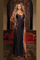 free shipping! sexy women's  black mesh halter nightgowns sleepwear night dress open back club long dress 5060