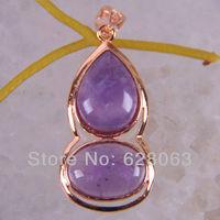 Amethyst Bead Calabash Pendant Jewelry Free shipping S667