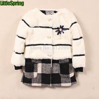 Retail Cute children's outerwear girls Autumn & winter warm long sleeve coat LittleSpring GLZ-S0355 XLS
