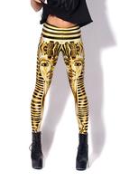 New Arrival Women 2013 Designed Digital Print sexy gold Sphinx Black Milk Vintage Egypt Pharaoh Leggings Free shipping 13544